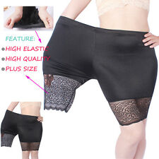 Women's Plus Size Lace Safety Shorts Yoga Capri Pants Elastic Cropped Leggings