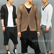 Men's Fashion Sexy Guy Slim Fit See Through Mesh Knit Cardigan, GENTLERSHOP