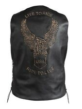 MEN'S MOTORCYCLE DISTRESSED BROWN LEATHER VEST WITH EAGLE LIVE TO RIDE EMBOSSED