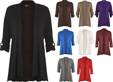 New Ladies Plus Size Short Sleeve Button Open Cardigan Womens Stretch Top