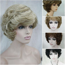 Ladies Wigs Short Curly Fluffy Natural Hair wig Black Blonde Brown Red Grey