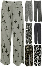 New Plus Size Womens Palazzo Wide Leg Flared Trousers Ladies Print Pants