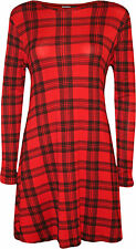 Womens Plus Tartan Check Print Long Sleeve Flared Top Ladies Swing Dress