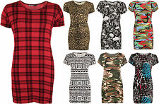 New Womens Plus Print Baggy Oversized Short Sleeve Long T-Shirt Ladies Top