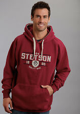 Stetson Mens Red Cotton Blend Pullover Arrow Head Shield Hoodie