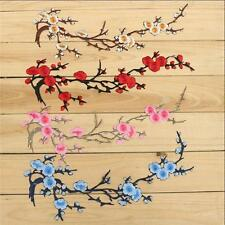 Iron on Plum Blossom Beautiful Flower Patch Embroidered Applique Motif Craft