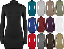 New Womens Plus Size Plain Turtle Neck Long Sleeve Ladies Stretch Top