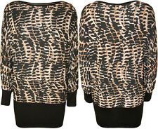 New Womens Plus Size Snake Print Batwing Ladies Long Sleeve Animal Top