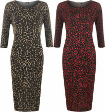 New Plus Womens Long Sleeve Lurex Sparkle Leopard Animal Print Ladies Midi Dress
