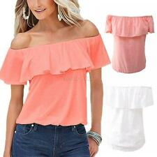 Women Strapless Ruffle Crop Top Summer Party Off-Shoulder Tee Shirt Solid Blouse
