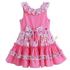 Kids Baby Girls Princess Dress Flower Bow Cotton Birthday Wedding Party Pageant