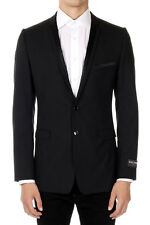 DOLCE & GABBANA New Men Black Single Breasted Wool Blend Made in Italy