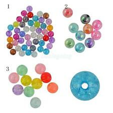Assorted 12 18 22mm Mix Colors Acrylic Crackle Spacer Beads Round Necklace DIY