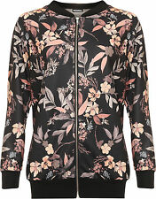 Womens Plus Floral Leaf Bomber Jacket Top Ladies Print Long Sleeve Zip 14-28