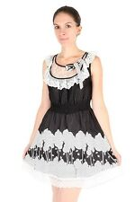 Yumi Black White Lace Polka Dot Trees Leaves Bow Smocked Lined Dress $108 CAD