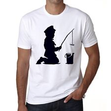 Kid Fishing Homme T-shirt, Blanc, Graffiti Banksy Tshirt