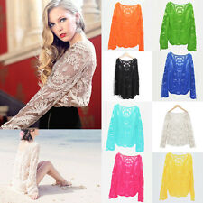 Sexy Women Semi Sheer Embroidery Floral Hollow Lace Crochet Tee Shirt Top Blouse