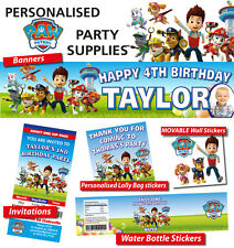Paw Patrol Personalised Kids Birthday Party Banner & Party Supplies RSVP