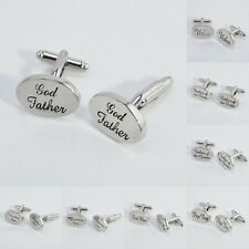 Silver Oval Men Wedding Cufflinks Cuff Link Groom Best Man Usher Page Gift