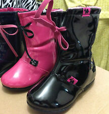 New Toddler Rain Boots Pink Black Girls Kids Shoes