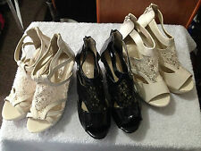 New Woman Beige Black Platforms Wedges high heels lace Shoes size 38,39,40,41