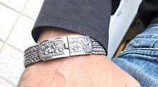 Heavy sterling silver cuff bangle men 925 wide braided thick chain link bracelet