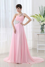 Blue and Pink Chiffon Wedding Dress Evening Dress Beach Bridal Gown (US 2-16)