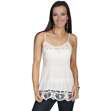 Scully Womens White Spaghetti Strap Camisole Top