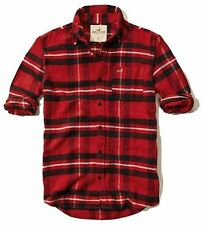 New Hollister By Abercrombie Mens Button Down Sports and Flannel Shirt Red