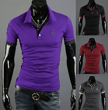 Mens Slim Fit Short Sleeve Tops Tee T-shirt Fashion Casual Style POLO Shirt New
