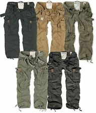 SURPLUS PREMIUM VINTAGE TROUSERS ARMY CARGO PANTS MENS WORK COMBATS WASHED