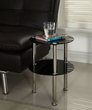 Glass Side Table Coffee Lamp Desk Round Black Clear Chrome 2 Tier Modern New UK