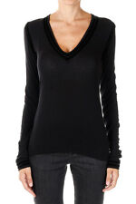 GIVENCHY new Woman Black V neck Wool Blend Tee Sweater Made in Italy