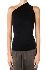 RICK OWENS New woman Black Virgin Wool ONE SHOULDER Top Tee Made in Italy