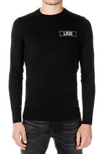 GIVENCHY New Men Black Wool Round Neck Long sleeve Jumper Sweater NWT