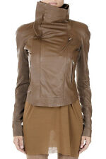 RICK OWENS Women Brown Leather BIKER ELIEL SLEEVES Jacket New with Tag