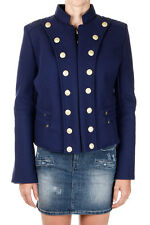 PIERRE BALMAIN Women Wool Blend blue Jacket Coat long sleeve Made Italy NWT