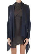 RICK OWENS Women Blue Virgin Wool Cardigan Made in Italy New with Tag