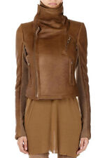 RICK OWENS Women Brown Shearling CLASSIC BIKER Jacket New with Tag