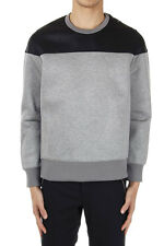 NEIL BARRETT Men Grey and Black Bomber Fit Sweatshirt Made in Italy