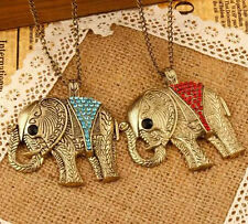 Elephant Crystal Pendant Colorful Necklace Retro New Chic Fashion Sweater Chain