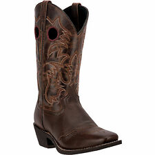 Laredo Mens Brown Pequin Saddle Leather Cowboy Boots Buck Lace