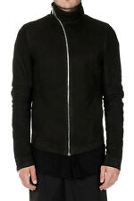 RICK OWENS New Man Black Coat Jacket Leather Cashmere MOLLINO Made Italy NWT