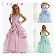 Pink Wedding Princess Flower Girl Dress for Communion Birthday Bridemaids green