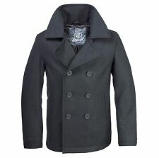 BRANDIT CLASSIC VINTAGE NAVY PEA COAT MENS ARMY REEFER WOOL MARINE JACKET
