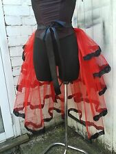 Red bustle belt Gothic Victorian Burlesque Steampunk Party tutu with  black lace