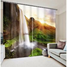Mountain waterfall design 3d digital Blackout curtains