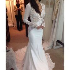 Lace Mermaid Long Sleeve Chiffon Wedding Dress Trumpet Bridal Gown Custom Size