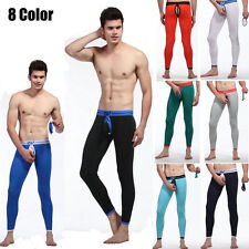 Men's Removable Pouch Long Johns Pants Lingerie Backless Thermal Underwear Tight