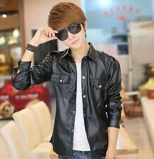 Fashion Men Punk Slim Fit PU leather Motorcycle Spring Korea Jacket Black Shirt